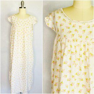 Vintage 60s 70s Romantic Floral Sleep Gown Dress